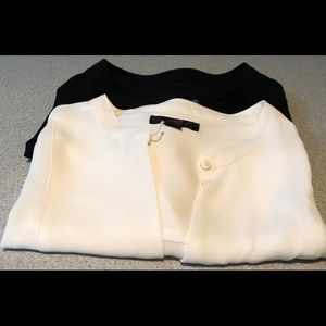 J Crew Drapey Cap-Sleeve Top. Black and Ivory Pair